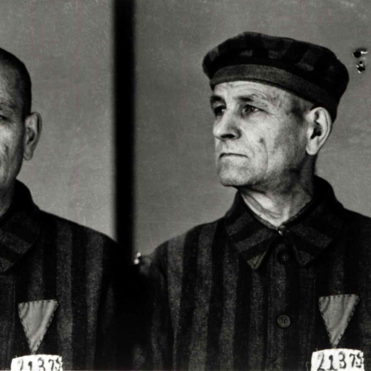 Auschwitz prisoner No. 22375, a homosexual, photographed in 1942.