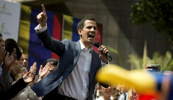 File photo: Juan Guaido, president of the Venezuelan National Assembly, delivers a speech during a public legislative session in Caracas, Venezuela, January 11, 2019.