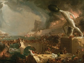"""""""The Course of Empire: Destruction,"""" by Thomas Cole (1836). The image of the tremendous civilization that descends, doomed, into the depths, has a stubbornly alluring power over the imagination."""