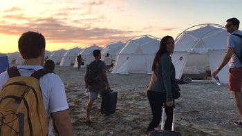 TROUBLE IN PARADISE: Festival-goers arriving at Fyre Festival in the Bahamas, April 2017. The promised luxury sleeping arrangements turned out to be sodden FEMA tents.
