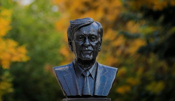 A bust of Nobel laureate Elie Wiesel in Bucharest, Romania, October 9, 2018.