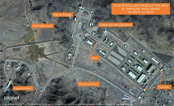 a suspected Saudi ballistic missile base and test facility is seen outside of the town of al-Dawadmi, Saudi Arabia, November 13, 2018 satellite image from Planet Labs Inc.