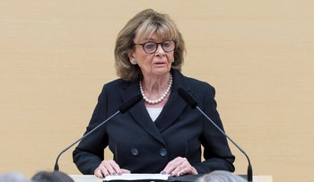 Charlotte Knobloch, Holocaust survivor and former head of Germany's Central Council of Jews, speaks at the Bavarian Parliament in Munich, Germany, January 23.