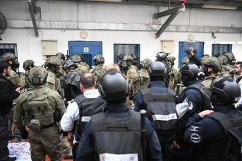 Security forces at the Ofer Prison, January 2019.