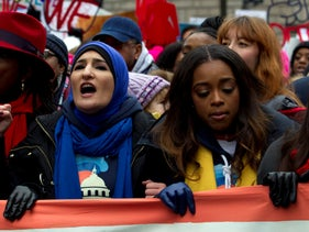 Linda Sarsour and Tamika Mallory at the 2019 Women's March, Washington D.C., January 19, 2019.