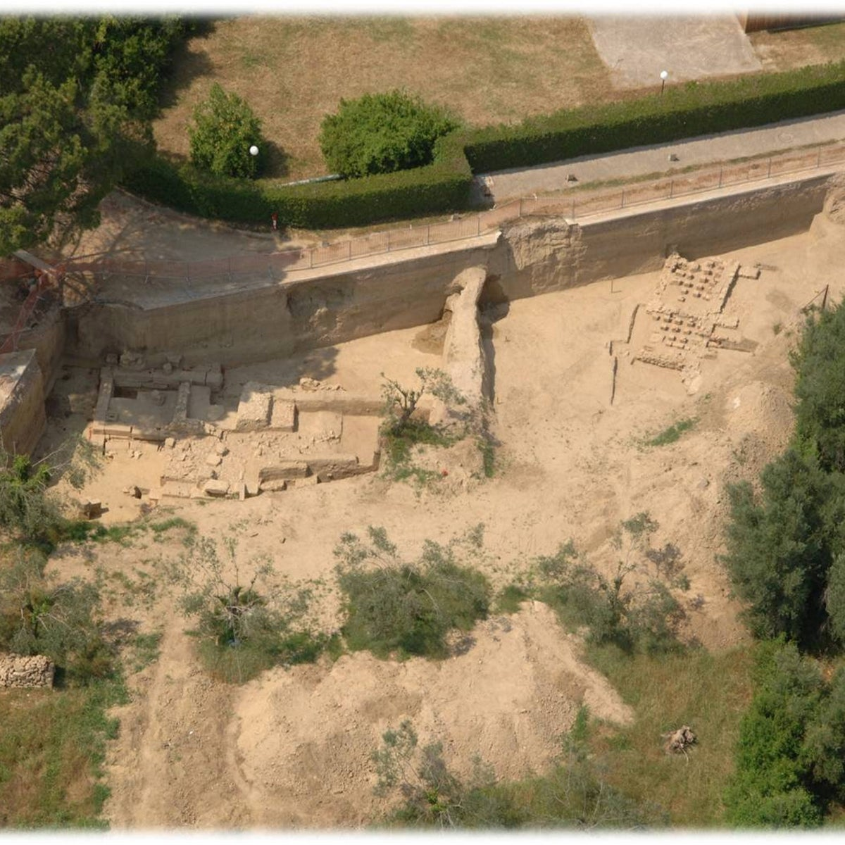 Aerial view of the Demeter Chamyne sanctuary, right by the Hippodrome chariots racing track.