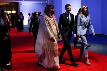Then-Deputy Crown Prince Mohammed bin Salman escorts White House senior advisor Jared Kushner and Ivanka Trump at the Global Center for Combatting Extremist Ideology in Riyadh, Saudi Arabia. May 21, 2017
