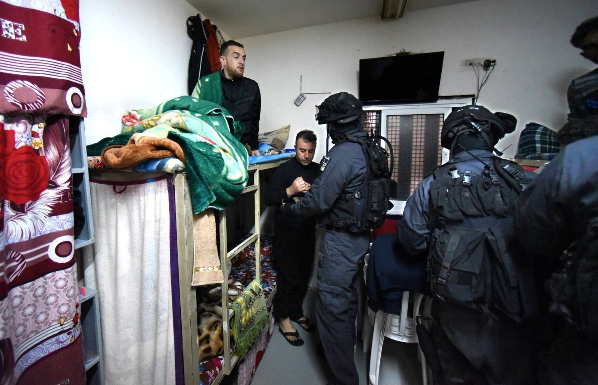 Prisoners in their cell in Nafha prison in southern Israel