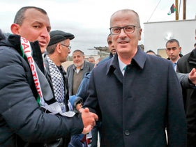 Palestinian Prime Minister Rami al-Hamdallah at the opening of a medical center near Hebron, January 28, 2019.
