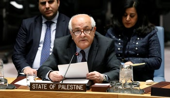 Palestinian Ambassador Riyad Mansour addresses the United Nations Security Council, at UN headquarters, January 22, 2019.