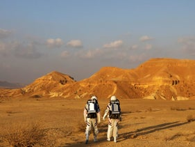 Israeli scientists participate in an experiment simulating a mission to Mars, at the D-MARS Desert Mars Analog Ramon Station project, February 18, 2018. \ RONEN ZVULUN/ REUTERS
