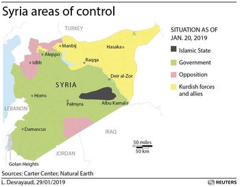 Areas of control in Syria as of January 29, 2019