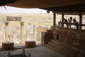Tourists visiting the ancient ruins of Susya in the West Bank.