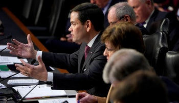 """Senator Marco Rubio questions witnesses before the Senate Intelligence Committee hearing about """"worldwide threats"""" on Capitol Hill in Washington, U.S., January 29, 2019."""