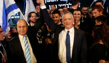 Benny Gantz and Moshe Ya'alon at the campaign election of Hosen L'Yisrael in Tel Aviv, January 29, 2019.