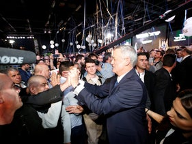 Benny Gantz greeting supporters at the Tel Aviv Convention Center, January 29, 2019.