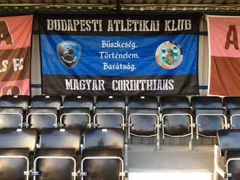 A joint flag of Corinthian-Casuals and the BAK (Budapesti Atletikai Klub)
