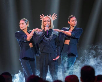 Bilal Hassani performing on stage in Paris during Destination Eurovision France, January 26, 2019.