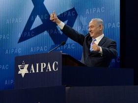 Prime Minister Benjamin Netanyahu speaks at an AIPAC conference in Washington, D.C. March 6, 2018.