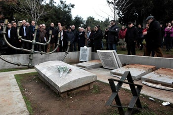 Gathering to protest at the desecrated Thessaloniki Jewish Memorial Cemetery, vandalized two days before Holocaust Memorial Day. January 28, 2019