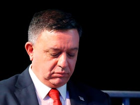 Avi Gabbay, chairman of Israel's Labour Party, arrives to deliver a speech during a party conference in the coastal city of Tel Aviv on January 10, 2019.