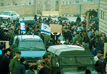 The funeral procession of Baruch Goldstein, Feb. 27, 1994.