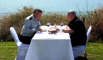 Prime Minister Benjamin Netanyahu and then-IDF Chief of Staff Benny Gantz meet at a guesthouse of the Friends of the IDF, Olga, Israel, April 6, 2012.