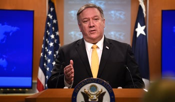 U.S. Secretary of State Mike Pompeo speaks at a press briefing in the State Department in Washington, DC, on February 1, 2019.