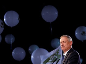 Benny Gantz giving a speech during his party's campaign launch, Tel Aviv, January 29, 2019.