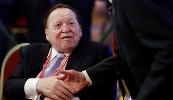 File photo: Sheldon Adelson attends the Republican Jewish Coalition annual leadership meeting in Las Vegas, February 24, 2017.
