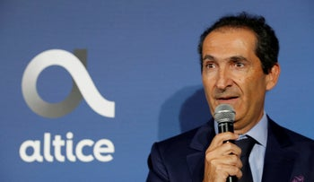 File photo: French-Israeli businessman Patrick Drahi, October 9, 2018.