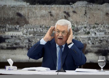 In this Dec. 22, 2018 file photo, Palestinian President Mahmoud Abbas gestures as he speaks during a meeting of the Palestinian leadership in the West Bank city of Ramallah.