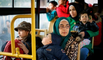 Syrian refugees on a bus waiting to return to Syria, Lebanon, January 24, 2019.