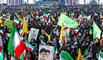 A rally marking the 39th anniversary of Iran's Islamic Revolution in Tehran, February 11, 2018.