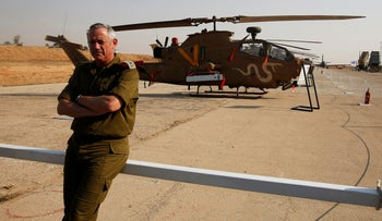 FILE PHOTO: Benny Gantz, then Israel's military chief-of-staff during a presentation at Hatzerim air base in southern Israel April 30, 2013.