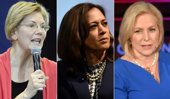 Democratic presidential candidates Elizabeth Warren, Kamala Harris and Kirsten Gillibrand, who all voted against the anti-BDS legislation in the Senate on January 29, 2019.