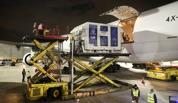Israeli spacecraft 'Beresheet' is loaded onto a plane to be flown to NASA's base in Florida.