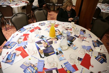 Leaflets spread on a table at a Likud party convention in Jerusalem, February 3, 2019.