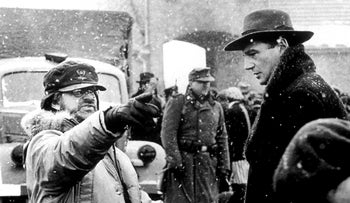 Steven Spielberg and Liam Nissan on the set of 'Schindler's List'