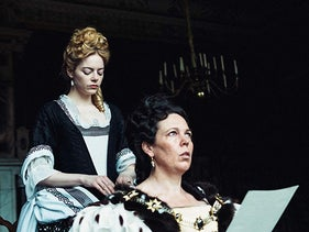 "Emma Stone and Olivia Colman in ""The Favourite."""