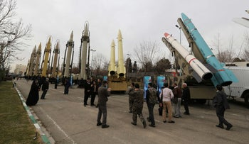 An Iranian weaponry and military equipment exhibition in the capital Tehran on Febraury 2, 2019.
