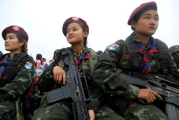 Members of the Democratic Karen Buddhist Army participe in the 70th anniversary of Karen National Revolution Day in Kaw Thoo Lei, Kayin state, Myanmar January 31, 2019