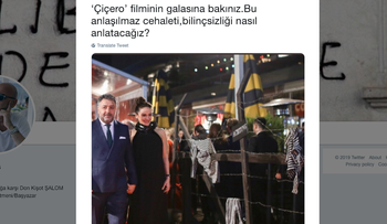One of the tweets, by Jewish journalist Ivo Malinas, illustrating the Nazi death camp theme that set off the backlash against movie premiere in Istanbul. January 2019