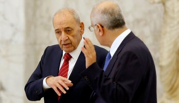 File photo: Parliament Speaker Nabih Berri speaks with Finance Minister Ali Hassan Khalil before the first meeting of the Lebanese cabinet in Baabda, Lebanon, February 2, 2019.