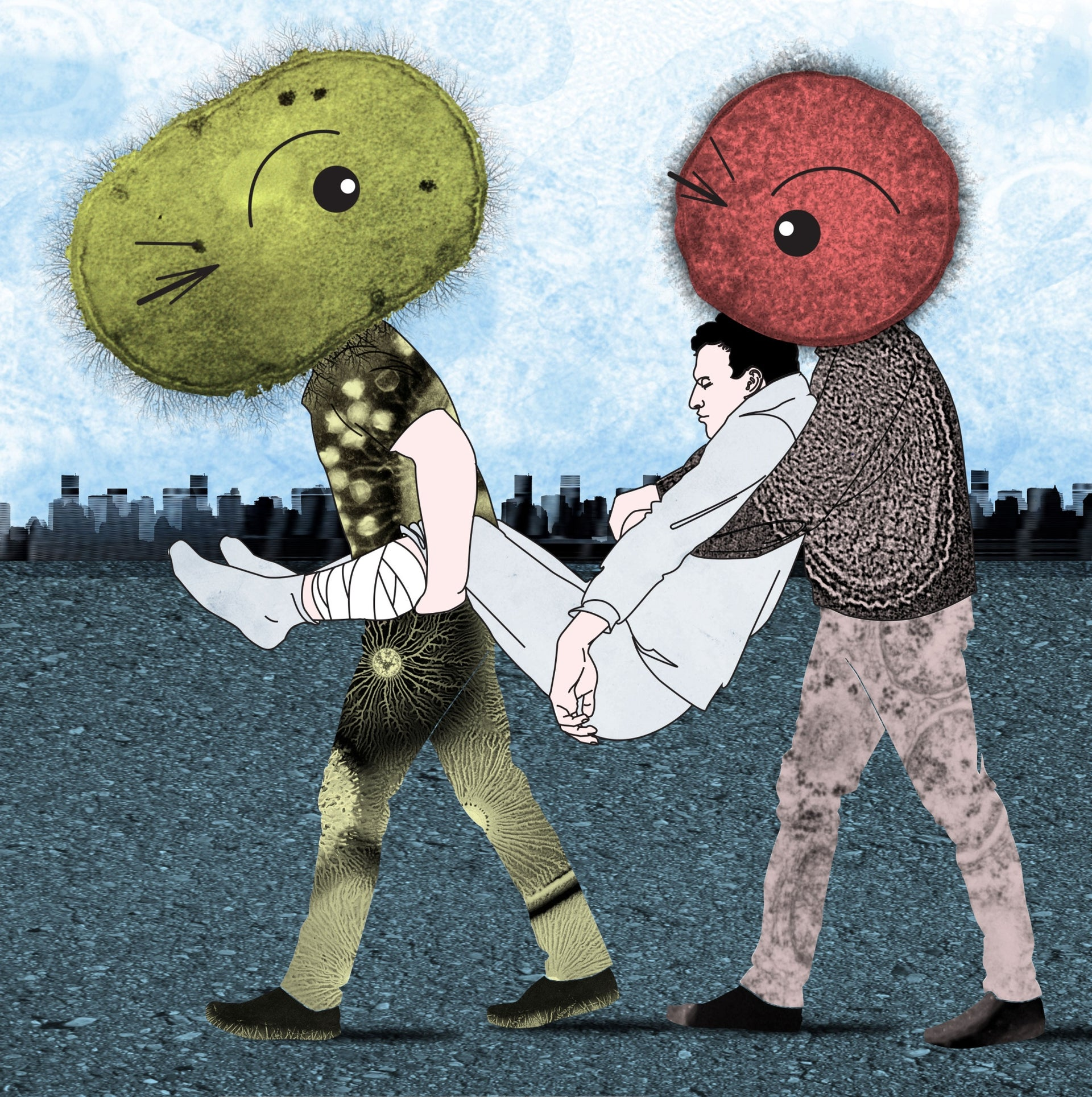 Illustration by Yael Bogen: Figures with microbe-shaped heads carry a man.