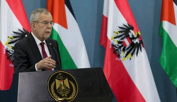 Austrian President Alexander Van Der Bellen speaks during a press conference following his meeting with Palestinian President Mahmoud Abbas in the West Bank city of Ramallah, February 5, 2019.