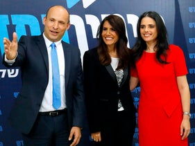 Education Minister Naftali Bennett, businesswoman Alona Barkat and Justice Minister Ayelet Shaked at a joint press conference, February 7, 2019.