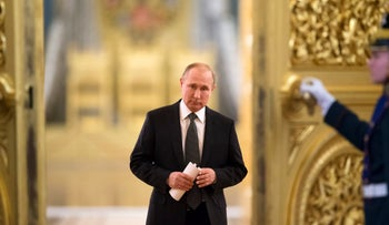 File photo: Russian President Vladimir Putin enters a hall to chair a meeting of the State Council in the Kremlin in Moscow, Russia, April 5, 2018.