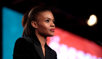 Candace Owens speaking with attendees at the 2018 Student Action Summit hosted by Turning Point USA at the Palm Beach County Convention Center in West Palm Beach, Florida.