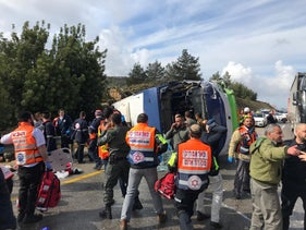 The scene of the accident, near Beit Horon, February 10, 2019.